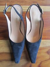 GORGEOUS HOBBS SILVIA NAVY SUEDE SLINGBACK SHOES SIZE 36 80mm HEELS