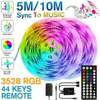 5M/10M 3528 SMD RGB 600 LED`S Streifen Musik Licht Schnur Klebeband +Ir Fern ♡
