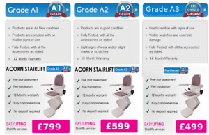 ACORN SUPERGLIDE 120 STRAIGHT STAIRLIFT. WITH 12 MONTHS WARRANTY