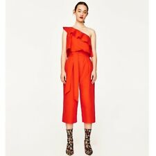 NWT Zara One Shoulder Frill Cropped Orange Jumpsuit, XS
