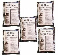 5 Packs 48 Hour Turbo Yeast w/ AG - Moonshine Alcohol Whiskey Rum Vodka 6.5 gal