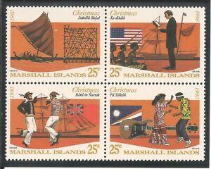 Marshall Islands #386a VF MNH BLOCK - 1990 25c Christmas / Ships