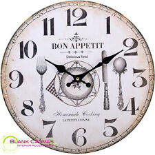 Vintage Shabby Chic Style French Bon Appetit Kitchen Wall Clock - NEW