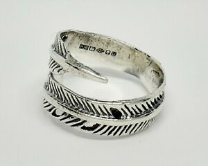 Solid Sterling silver Feather Ring  - Full UK Hallmarks UK seller Same Day Post