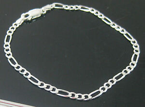 """MADE IN ITALY Real 925 sterling silver """"3mm  FIGARO"""" BRACELETS - TEEN BOY GIRL"""