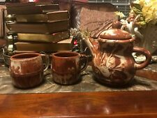 Clays In Calico Pottery Montana 1978 Pitcher And 2 Mugs Excellent