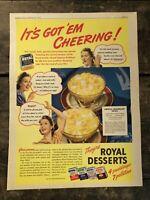 RARE Vintage 1941 ROYAL Desserts Puddings Gelatins Ad Colorfoto 11.5x15 FRAME IT