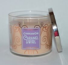 NEW BATH & BODY WORKS CINNAMON CARAMEL SWIRL SCENTED CANDLE 3 WICK LARGE 14.5 OZ