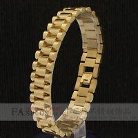 Men Jewelry 14k Gold Plated 15mm Stainless Steel Hip Hop Mens Wrist Bracelet 8.5