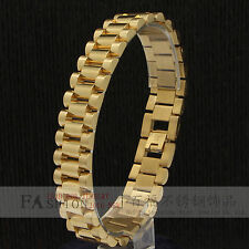 Men Jewelry 14k Gold Plated 15mm Stainless Steel Hip Hop Mens Wrist Bracelet 8.5