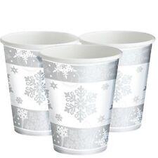Servizio da tavola di Natale-Fiocco di neve Scintillante TAZZE - 255ml party di carta tazze