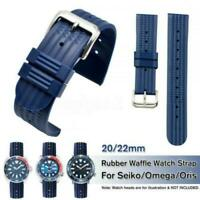 Black&Blue Rubber Waffle Watch Strap Band Divers Waterproof Watch 20/22mm New