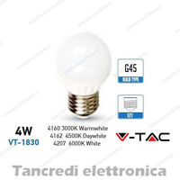 Lampadina led V-TAC 4W = 30W E27 VT-1830 G45 miniglobo bianca attacco grande smd