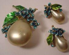 Vintage ART Signed Brooch & Earrings Fruits and Flowers Enamel