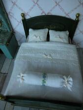 4-teilg.fast weißes Bettwäsche-SET für.Doppelbett.Puppenstuben-Schafzimmer 1:12,