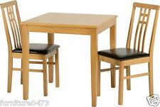 Oak Effect Dining Table & 2 Brown Seat Chairs L75cm x D75cm x H76cm VALENTINO