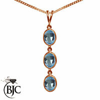 BJC® 9ct Rose Gold Natural Blue Topaz Triple Drop Oval Pendant & Necklace
