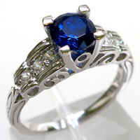 TRENDY 1 CT SAPPHIRE ROUND CUT 925 STERLING SILVER RING SIZE 5-10