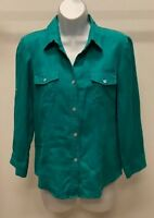 David Brooks Women's Aqua Blue Solid Roll Up 3/4 Sleeve Top Blouse Size: 4