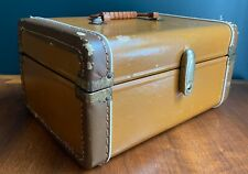 Vintage Antique Brown Train Case Makeup Case Retro Unisex Purse Green Interior