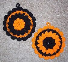 PAIR OF PUFF-STITCH ROUND POTHOLDERS, Crochet, HALLOWEEN COLORS, New, HANDMADE