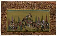 Mughal Miniature Painting Of Emperor Shah-Jahan Procession On Old Paper