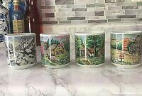 Vintage Painted Americana 4  Seasons Coffee Cups Made In Japan Sz 6 Oz EUC