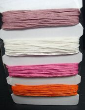 4 colors Hemp bead cord 0.8mm 120' total Mauve, White, Pink, Orange M091