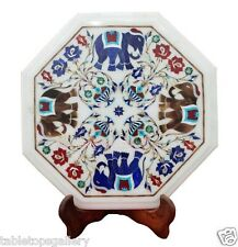 1'x1' Marble Coffee Side Corner Table Top Elephant Mosaic Inlay Home Decor H1691