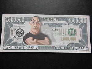 Dwayne Johnson The Rock $1 MILLION DOLLAR NOTE Novelty Bill $1,000,000 WWE USA