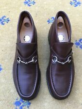 Gucci Mens Shoes Brown Leather Horsebit Loafers UK 10 US 11 EU 44 Booties