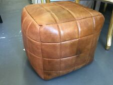 NEW VINTAGE BROWN AGED LEATHER OTTOMAN FOOTSTOOL SEAT CHAIR CORNER FOOT POUFS