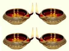 4 Brass Lamps OIL for Lighting Diwali Thanksgiving New Year Gurupurab Christmas