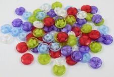 50 Transparent Round Multi Colour Internal Flower Plastic Buttons 14mm BU1034