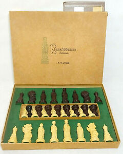 Vintage Chess Set E.S Lowe Renaissance Chessmen Chess Board Game Incomplete