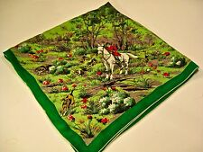 VINTAGE EQUESTRIAN FOX HUNT SILK SCARF HORSE HOUNDS WOODS SPRING GREEN WOW!