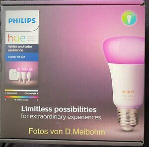 Philips Hue White & Col. Amb. E27 3er Starter Set -/Kit 3 x 806 lm Bluetooth OVP