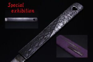 Japan Antique iron silver kozuka set 五三桐 katana koshirae samurai yoroi tsuba Edo