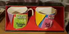 More details for pair of heinz collectable art deco mugs retro colourful purple green tomato soup