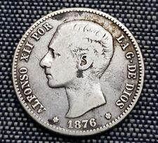 Año 1876* 1 - 76. 1 Peseta Plata de ALFONSO XII. Peso actual 4,78 gr. BONITA.