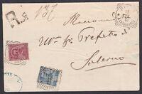 Italia Regno mista 2 Re su Raccomandata 1901 da Pizzo x Salerno