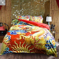 Oriental Golden Dragon Duvet Cover Quilt Cover Pillow Case Bedding Set All Sizes