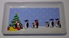 """Christmas Tree Dish Shibata Japan PENGUIN SANTA Sandwich Tray 5.25"""" X 9"""""""