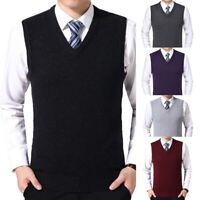 2019 Men's Sweater Vest Solid Color Wool Business Men's Vest V-neck Vest US