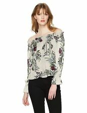 NEW GUESS Women's Off The Shoulder Bethany Top, Floral Fauna/White Sand, Medium