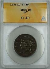 1835 Coronet Large Cent 1c, N-7, ANACS EF-40, DGH