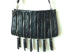 Thomas Wylde Black Cross Body, Multi Zipper Design Skull Clutch, Purse, Handbag