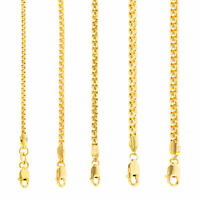 """10K Yellow Gold Solid 2mm-4mm Venetian Round Box Chain Link Necklace 16""""- 30"""""""