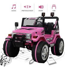 12V Kids Ride On Truck Car w/ Remote Control LED Lights 3 Speeds w/ Music Pink