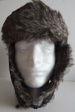 Men's Faux Fur Lined Trapper Hat Black